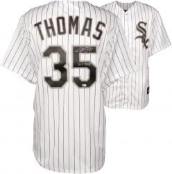 Frank Thomas Chicago White Sox Autographed Replica Pinstripe Jersey with HOF 14 Inscription - Mounted Memories