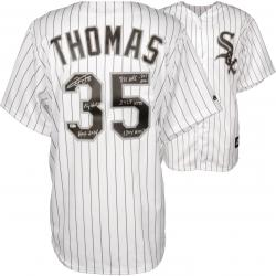 Frank Thomas Chicago White Sox Autographed Replica Pinstripe Jersey with Multiple Inscription-#1 of a Limited Edition of 34 - Mounted Memories