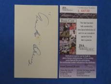 FRANKIE DREWS SIGNED 3x5 INDEX CARD - JSA L69730 BOSTON BRAVES - D. 1972