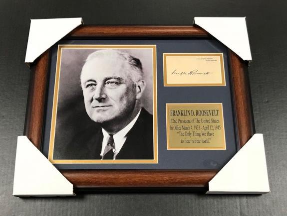 FRANKLIN D ROOSEVELT Autographed Facsimile Reprint Framed 8x10 Photo PRESIDENT