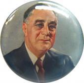 Franklin D. Roosevelt Color Portrait Pin. 1940