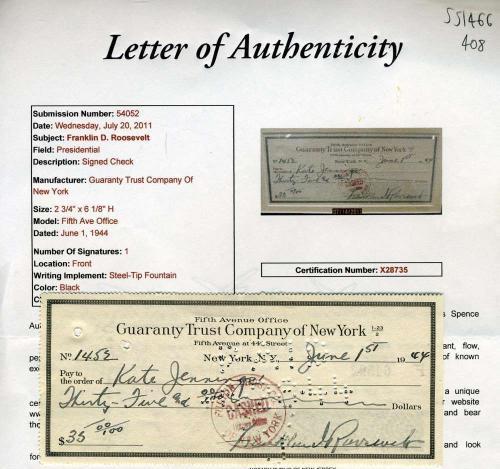Franklin D Roosevelt Jsa Coa Hand Signed  Check Authentic Autograph