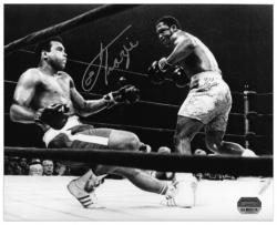 Joe Frazier Autographed 8'' x 10'' Knocking Down Muhammad Ali Black and White Photograph - Mounted Memories