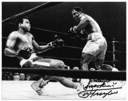 Joe Frazier Autographed 8'' x 10'' vs Muhammad Ali Photograph with Smokin Inscription - Mounted Memories