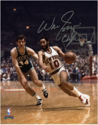 "NBA New York Knicks Walt Frazier Autographed 8"" x 10"" vs. Boston Celtics Photo with Clyde Inscription - Mounted Memories"