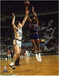 NBA New York Knicks Walt Frazier Autographed 8'' x 10'' vs. Boston Celtics Photo with Clyde Inscription - Mounted Memories