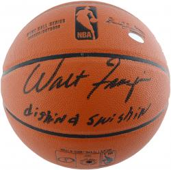 Walt Frazier New York Knicks Autographed Spalding Indoor Outdoor Basketball with Dishin & Swishin Inscription - Mounted Memories