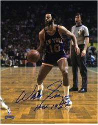 "NBA New York Knicks Walt Frazier Autographed 8"" x 10"" Photograph with HOF 1987 Inscription - Mounted Memories"