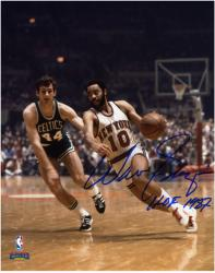 NBA New York Knicks Walt Frazier Autographed 8'' x 10'' vs. Boston Celtics Photo with HOF 1987 Inscription - Mounted Memories