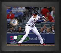 "Freddie Freeman Atlanta Braves Framed 20"" x 24"" Gamebreaker Photograph with Game-Used Ball"