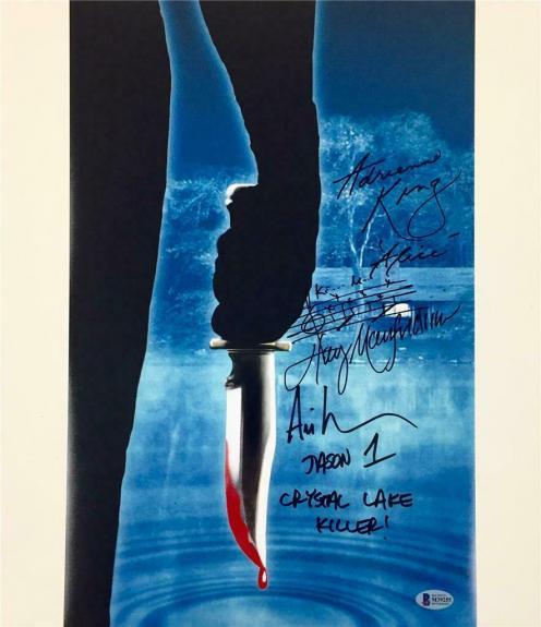 Friday the 13th signed 11x17 photo *BAS COA* Ari Lehman ADRIENNE KING Manfredini