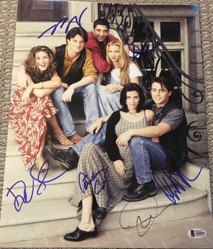 """Friends"""" Full Cast Extremely Rare Signed Autograph 11x14 Photo Beckett Bas Coa"""