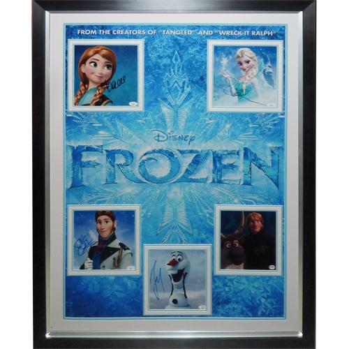 Frozen Full-Size Movie Poster Deluxe Framed with all 5 Cast Autographs – JSA
