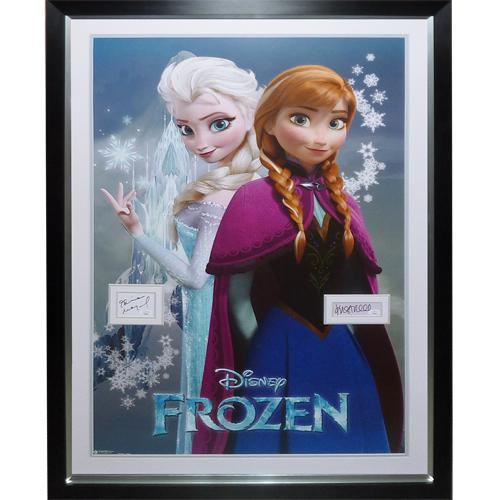 Frozen Full-Size Movie Poster Deluxe Framed with Idina Menzel And Kristen Bell Autographs – JSA