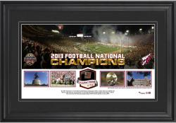 Florida State Seminoles (FSU) 2013 BCS National Champions Framed Panoramic Collage with Piece of Game-Used Football - Limited Edition of 250