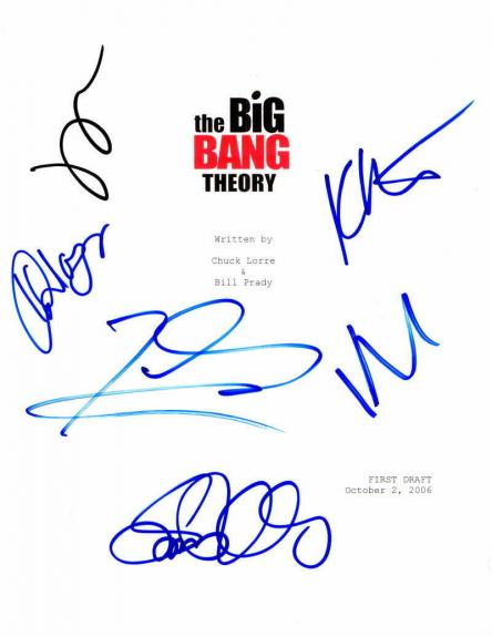 Full Cast (x5) Signed Autograph Big Bang Theory Full Pilot Script - Kaley Cuoco+
