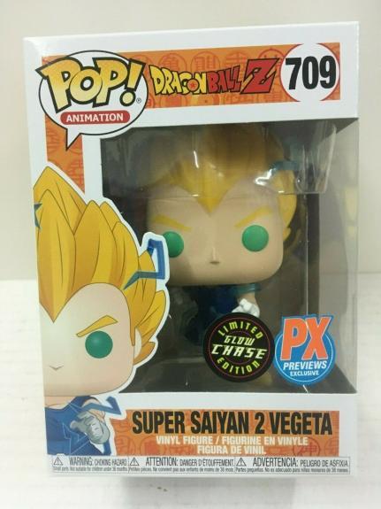 Funko Pop Dragon Ball Z 709 Super Saiyan 2 Vegeta Chase Glow GITD PX Exclusive