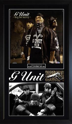 G-Unit 50 Cent Lloyd Banks Tony Yayo Signed Beg For Mercy Album LP Framed Displa