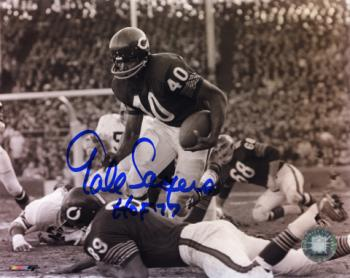 "Gale Sayers Chicago Bears Autographed 8"" x 10"" Horizontal Black and White Photograph with HOF 77 Inscription"
