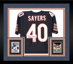 Framed Gale Sayers Chicago Bears Autographed Custom Jersey with HOF 77 Inscription