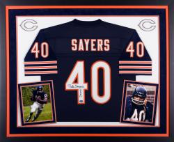 Gale Sayers Chicago Bears Autographed Deluxe Framed Navy Blue Jersey with HOF 77 Inscription