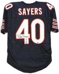 Gale Sayers Chicago Bears Autographed Custom Jersey with HOF 77 Inscription - Mounted Memories