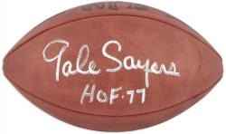 Gale Sayers Chicago Bears Autographed Pro Football with HOF 77 Inscription - Mounted Memories