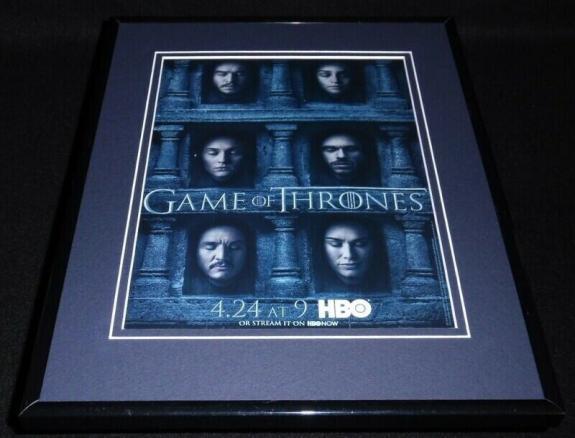 Game of Thrones 2016 Framed 11x14 ORIGINAL Vintage Advertisement HBO