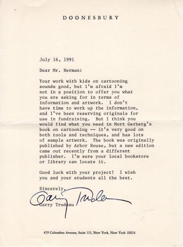 Garry Trudeau Hand Signed Typed Letter         Doonesbury Cartoonist         Jsa