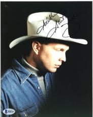 "Garth Brooks Autographed 8"" x 10"" Jean Jacket & White Hat Black Background Photograph - Beckett COA"