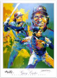 Gary Carter and Artist Autographed Lithograph with Hall of Fame 2003 Inscription - Mounted Memories