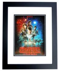 Gaten Matarazzo, Finn Wolfhard, and Charlie Heaton Signed - Autographed Stranger Things 8x10 inch Photo - BLACK CUSTOM FRAME - Guaranteed to pass PSA or JSA - Netflix