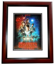 Gaten Matarazzo, Finn Wolfhard, and Charlie Heaton Signed - Autographed Stranger Things 8x10 inch Photo - MAHOGANY CUSTOM FRAME - Guaranteed to pass PSA or JSA - Netflix