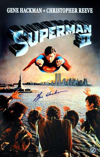 """Gene Hackman """"Lex Luthor"""" Autographed Superman II 11x17 Movie Poster w/ Twin Towers & Statue of Liberty"""
