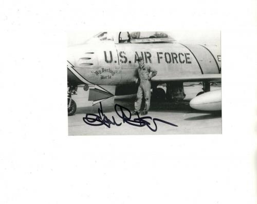 GENE KRANZ HAND SIGNED 4x6 PHOTO+COA      NASA LEGEND     RARE POSE IN AIR FORCE
