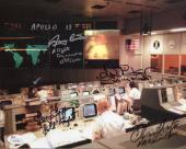 GENE KRANZ+CHRIS KRAFT+GRIFFIN HAND SIGNED 8x10 PHOTO    APOLLO 13 CONTROL   JSA