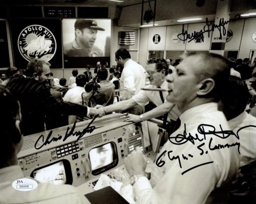 GENE KRANZ+CHRIS KRAFT+GRIFFIN+LUNNEY SIGNED 8x10 PHOTO   APOLLO 13 CONTROL  JSA