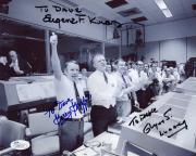 GENE KRANZ+LUNNEY+GRIFFIN HAND SIGNED 8x10 PHOTO     NASA LEGENDS   TO DAVE  JSA
