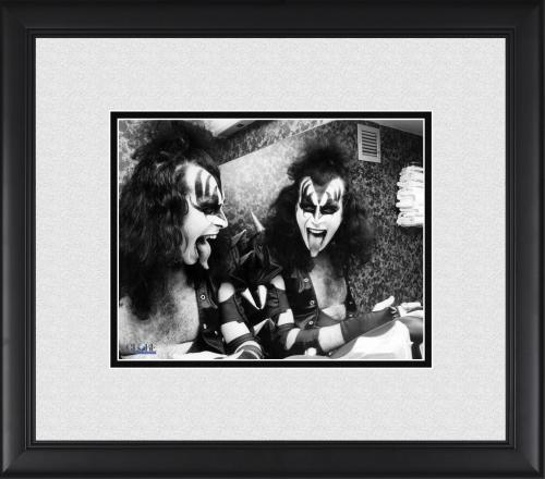 "Gene Simmons Kiss Framed 8"" x 10"" Sticking Tongue in Mirror Photograph"