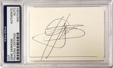 Gene Simmons KISS Guitar Rock & Roll Signed 2x3 Cut Auto PSA/DNA Slabbed (B)
