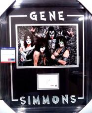 Gene Simmons Kiss Rock Music Legend Psa/dna Coa Signed Photo Matted & Framed B
