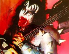 "GENE SIMMONS (Kiss) signed ""Spitting Blood""  Photo 11x14 -PSA  J51243"