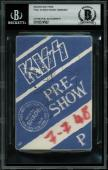 Gene Simmons & Paul Stanley KISS Signed 1990 Tour Backstage Pass BAS Slabbed