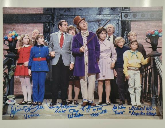 Gene Wilder + 5 Willy Wonka Kids cast signed 12x17 Photo Autograph PSA/DNA COA