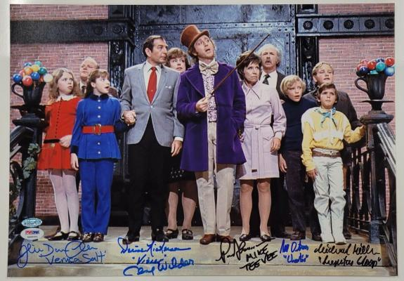 Gene Wilder + 5 Willy Wonka Kids cast signed 12x17 Photo PSA/DNA Witness COA LOA