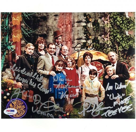 GENE WILDER + 5 Willy Wonka Kids cast signed 8x10 Photo PSA/DNA COA LOA