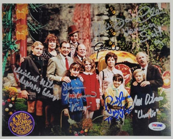 Gene Wilder + 5 Willy Wonka Kids cast signed 8x10 Photo PSA Witness COA LOA