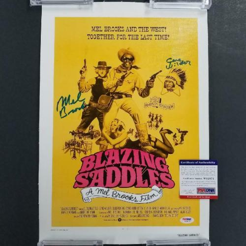 GENE WILDER and MEL BROOKS Signed Blazing Saddles 11x17 Canvas Movie Poster PSA