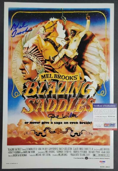 Gene Wilder Mel Brooks signed Blazing Saddles 12x18 Movie Poster Photo (A)~ PSA