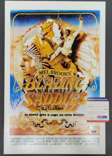 Gene Wilder Mel Brooks signed Blazing Saddles 12x18 Movie Poster Photo (C) ~ PSA